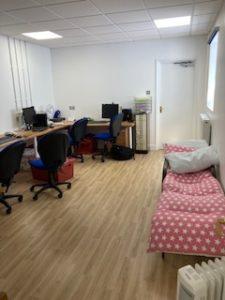new office refurbishment with wooden floor